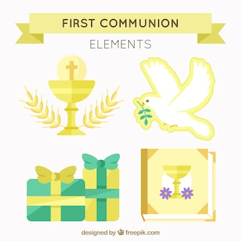 Conjunto de elementos de primeira comunhão de ouro