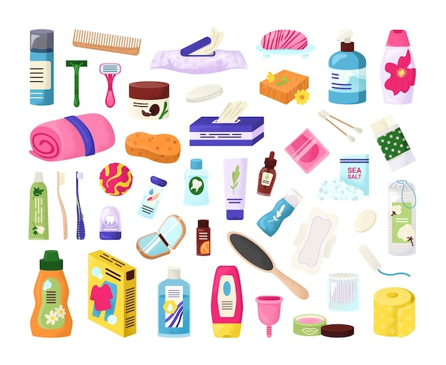 Conjunto de elementos de produtos de higiene