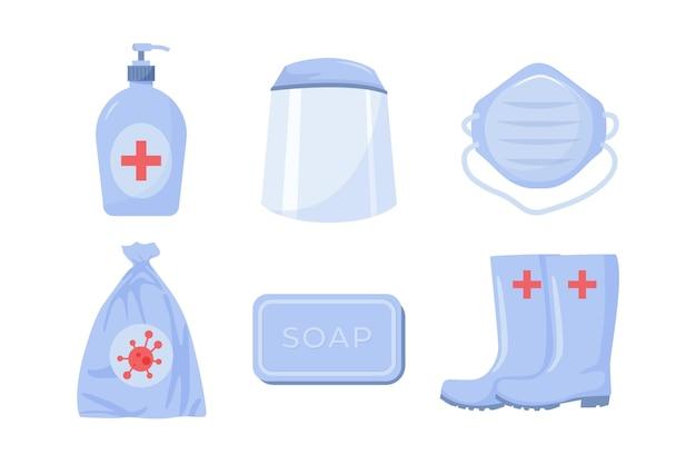 Conjunto de elementos de proteção de equipamento de vírus