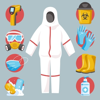 Conjunto de elementos de proteção de equipamentos de vírus