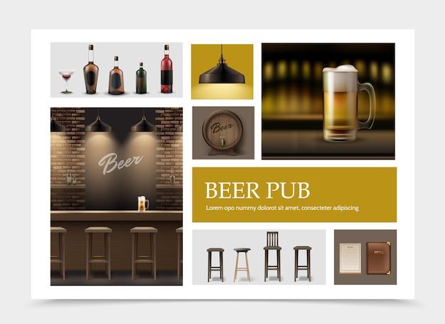 Conjunto de elementos de pub realistas com caneca de cerveja na lâmpada do menu do balcão do bar barril de madeira de cadeiras de garrafas de álcool de bebida