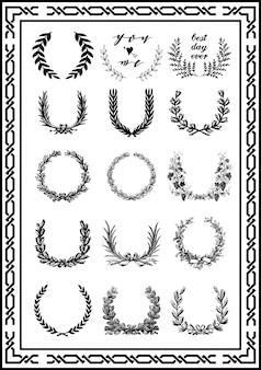 Conjunto de elementos de quadro de casamento clássico