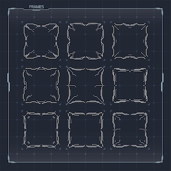 Conjunto de elementos de quadros para interfaces hud sci fi