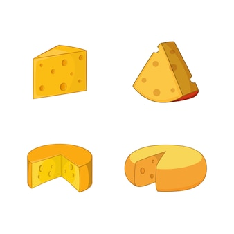 Conjunto de elementos de queijo. conjunto de desenhos animados de elementos do vetor de queijo