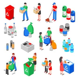 Conjunto de elementos de reciclagem de lixo