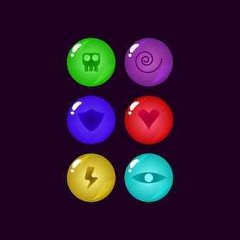Conjunto de elementos de recursos de gui de geléia arredondada da interface do jogo
