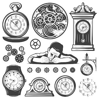 Conjunto de elementos de reparo de relógios monocromáticos vintage