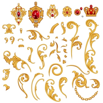 Conjunto de elementos de rolagem de joias de ouro com pedras de rubi, coroa e corrente para moldura de decoração em estilo rococó