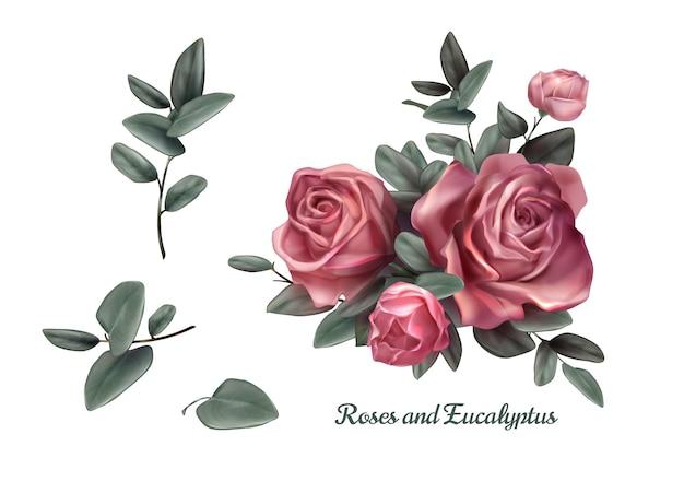 Conjunto de elementos de rosas cor de rosa e folhas verdes