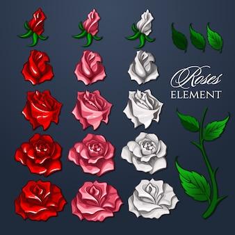 Conjunto de elementos de rosas para design