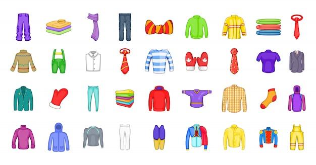 Conjunto de elementos de roupa. conjunto de desenhos animados de elementos do vetor de roupas