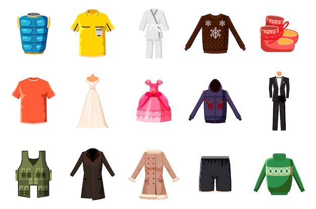 Conjunto de elementos de roupas. conjunto de desenhos animados de roupas