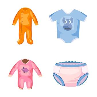 Conjunto de elementos de roupas de bebê. caricatura, jogo, de, bebê, roupas