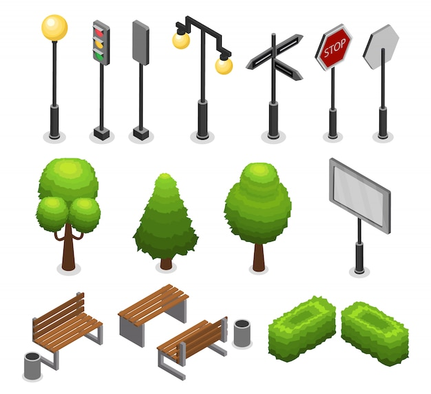 Conjunto de elementos de rua da cidade