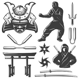 Conjunto de elementos de samurai de combate
