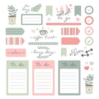 Conjunto de elementos de scrapbook de planejador fofo