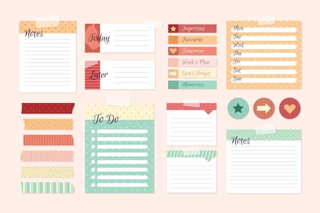 Conjunto de elementos de scrapbook de planejamento