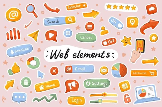 Conjunto de elementos de scrapbooking de modelo de adesivos fofos de elementos da web