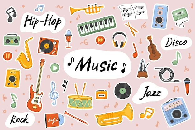Conjunto de elementos de scrapbooking de modelo de adesivos fofos de música