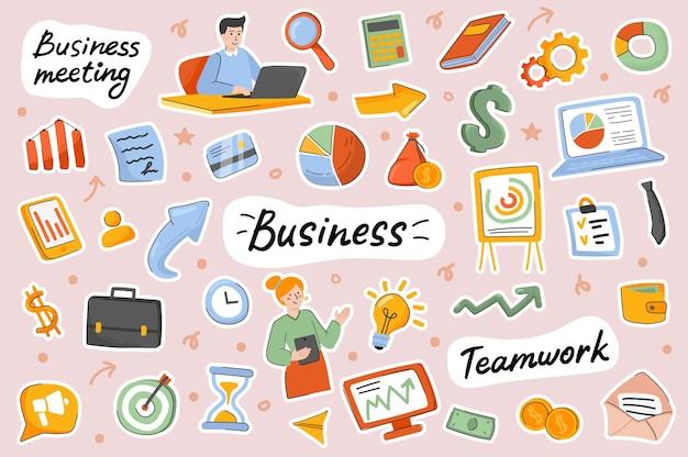Conjunto de elementos de scrapbooking de modelo de adesivos fofos de negócios