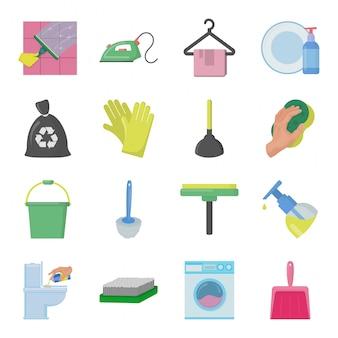 Conjunto de elementos de serviço de limpeza
