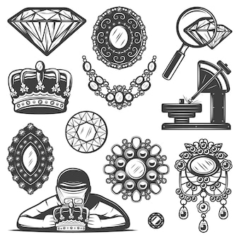 Conjunto de elementos de serviço de reparo de joias vintage