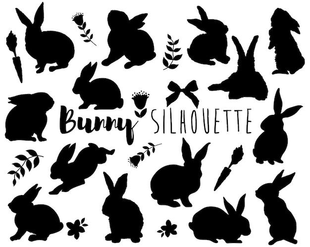 Conjunto de elementos de silhueta de coelho