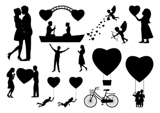 Conjunto de elementos de silhueta dos namorados