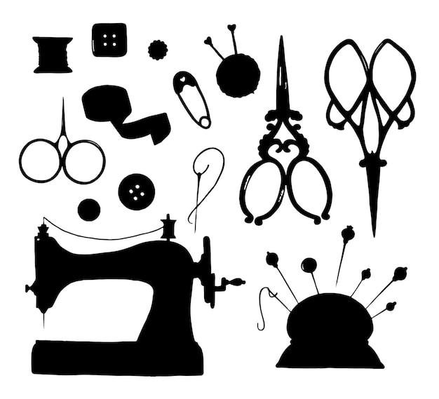 Conjunto de elementos de silhueta negra feitos à mão isolado no fundo branco
