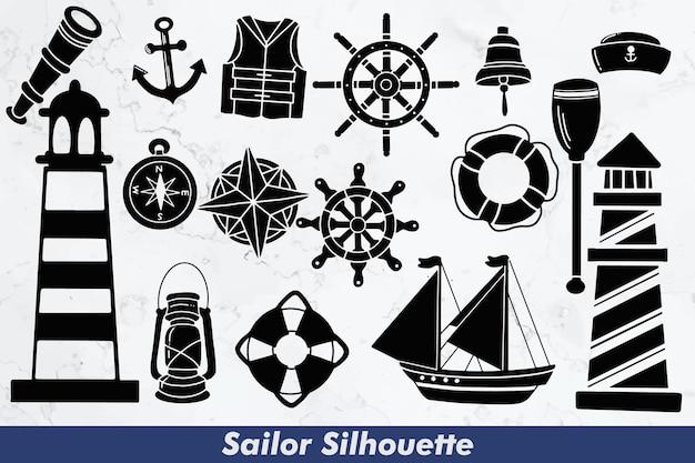 Conjunto de elementos de silhuetas de marinheiro