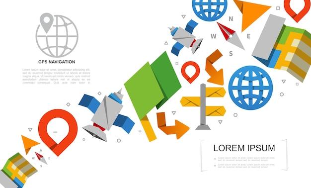Conjunto de elementos de sistema de posicionamento global plano com navegação em papel, mapa de satélite, globo, letreiro, seta, bússola, ilustração