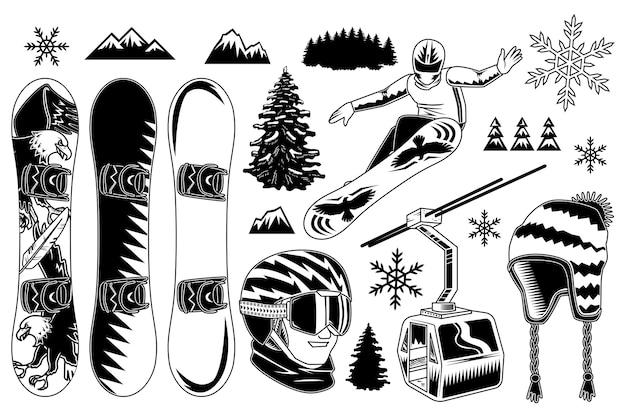 Conjunto de elementos de snowboard