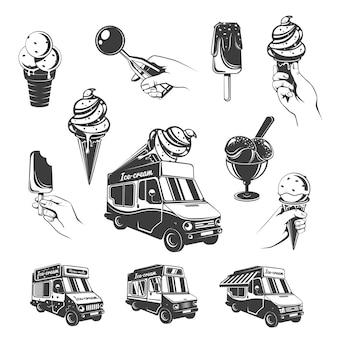Conjunto de elementos de sorvete vintage monocromático