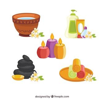 Conjunto de elementos de spa com diferentes produtos para tratamentos