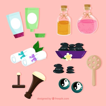 Conjunto de elementos de spa com produtos aromáticos