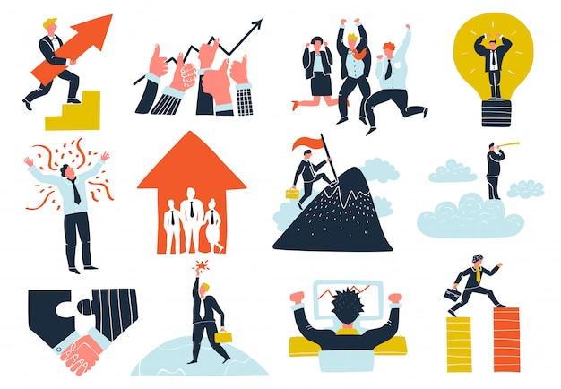 Conjunto de elementos de sucesso nos negócios