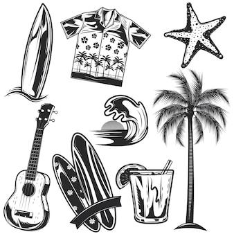 Conjunto de elementos de surf para criar seus próprios emblemas, logotipos, etiquetas, cartazes etc. isolado no branco.