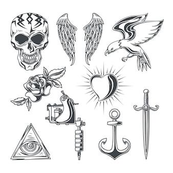 Conjunto de elementos de tatuagem