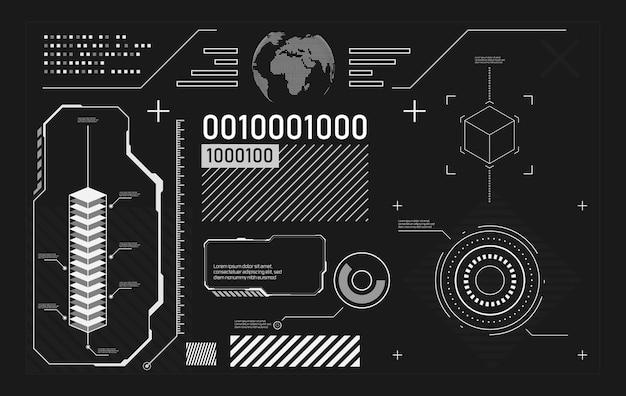 Conjunto de elementos de tecnologia hud