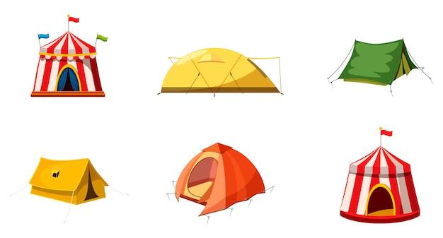 Conjunto de elementos de tenda. conjunto de desenhos animados de tenda