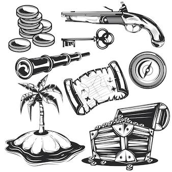 Conjunto de elementos de tesouro para criar seus próprios emblemas, logotipos, etiquetas, pôsteres, etc.