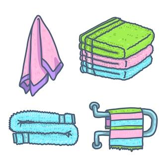 Conjunto de elementos de toalha, estilo mão desenhada