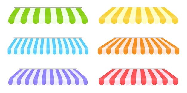 Conjunto de elementos de toldo. a cobertura pode ser trocada para evitar sol e chuva para decorar a loja.