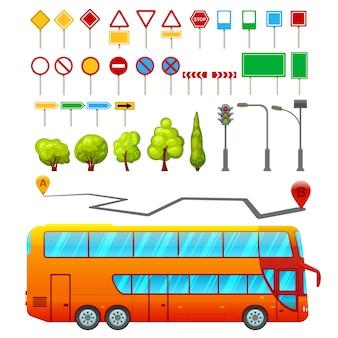 Conjunto de elementos de transporte da cidade