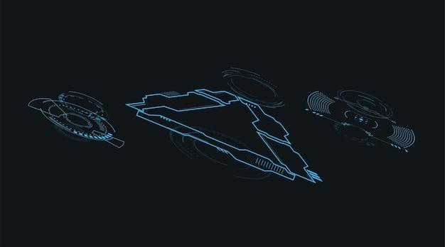 Conjunto de elementos de usuário futurista isolado 3d. conceito de tecnologia de holograma de realidade virtual. vector hud