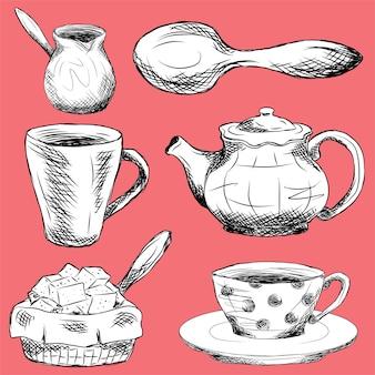 Conjunto de elementos de utensílios de cozinha sobre fundo vermelho