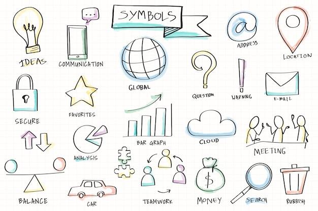 Conjunto de elementos de vários símbolos desenhados à mão