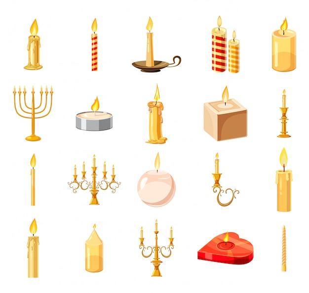 Conjunto de elementos de vela. conjunto de desenhos animados de vela