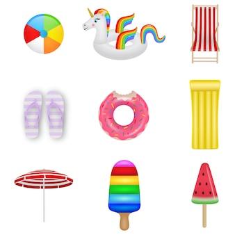 Conjunto de elementos de verão. bola de praia, unicórnio inflável, cadeira de praia, sapatos de chinelo, anel de borracha, colchão inflável, guarda-sol, colchão de sorvete e sorvete