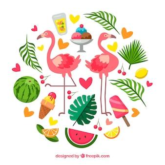 Conjunto de elementos de verão com comida e plantas no estilo desenhado de mão